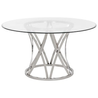 Safavieh Couture High Line Collection Kyrie Chrome Stainless Steel Glass Top Dining Table