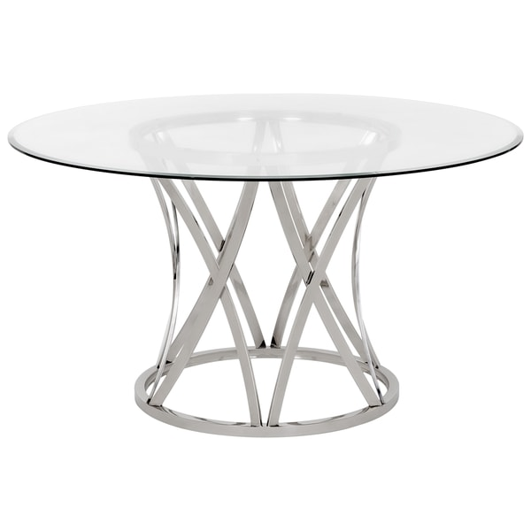 02f920c023f295 Shop Safavieh Couture High Line Collection Kyrie Chrome Stainless Steel Glass  Top Dining Table - On Sale - Free Shipping Today - Overstock - 14357149