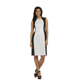 R M Richards Women's Black and White Lace Dress