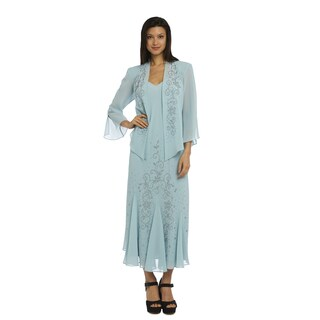 R&M Richards Women's Blue Beaded Jacket Dress