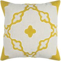 Rizzy Home Natural Geometric Cotton 20-inches x 20-inches Decorative Filled Throw Pillow