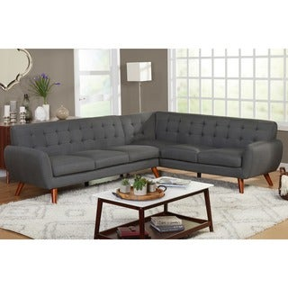 Simple Living Livingston Mid Century Tufted L Shaped Sectional Sofa