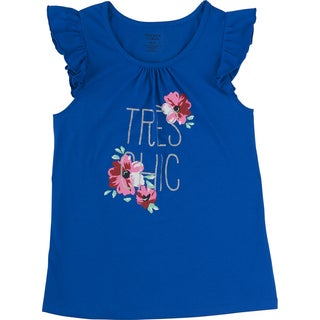 French Toast Girls Blue Cotton Tres Chic Flutter-sleeve Tank Top