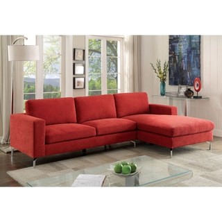 Furniture of America Celan Contemporary Flannelette Red L-Shaped Sectional with Chaise