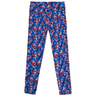 French Toast Girls Blue Cotton Floral-print Leggings