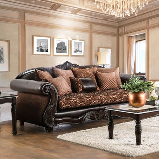 Furniture of America Besser Traditional Chenille Fabric and Faux Leather Brown Sofa
