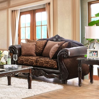 Furniture of America Quez Traditional Brown Faux Leather Loveseat