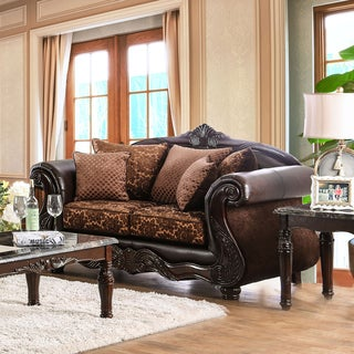 Furniture of America Besser Traditional Chenille Fabric and Faux Leather Brown Loveseat