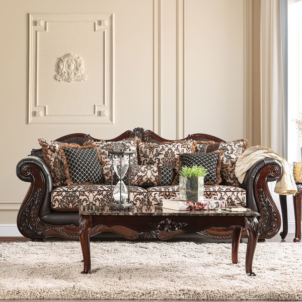 Furniture Of America Delane Traditional Chenille Fabric And Faux Leather  Brown Sofa