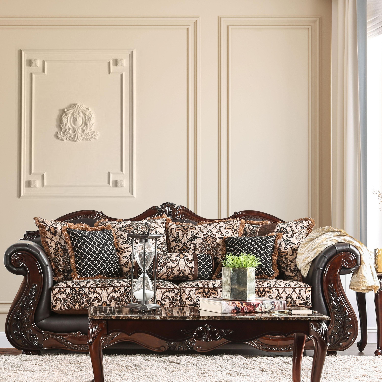 Furniture of America Delane Traditional Chenille Fabric a...