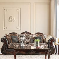 Furniture of America Delane Traditional Chenille Fabric and Leather Brown Sofa