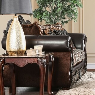 Furniture of America Delane Traditional Chenille Fabric and Faux Leather Brown Loveseat