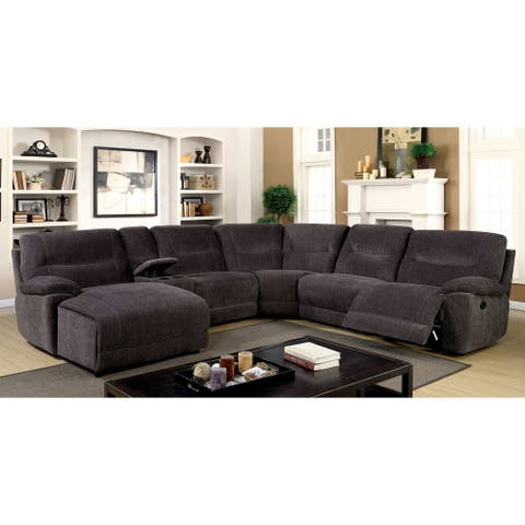 Furniture of America Grey Chenille Reclining Sectional