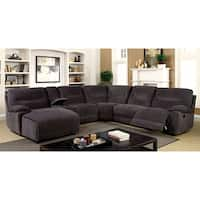 Furniture of America Colen Reclining Chenille Grey L-shaped Family Sectional