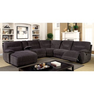Furniture Of America Colen Reclining Chenille Fabric Grey L Shaped Family  Sectional