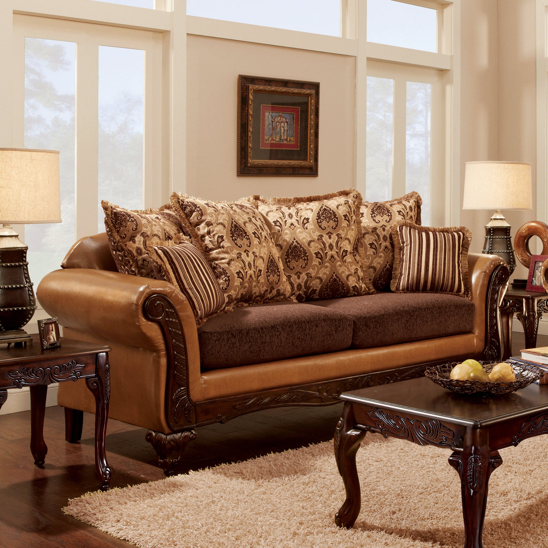 Furniture of America Lenea Traditional Chenille Fabric an...