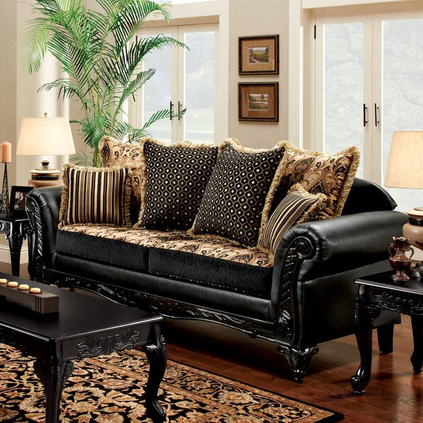 Furniture Of America Kaver Traditional Chenille Fabric And Leather Black Sofa