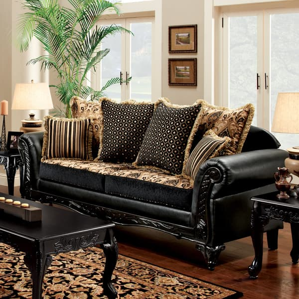 Furniture of America Yath Traditional Black Faux Leather Sofa