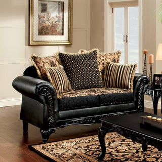 Furniture of America Kaver Traditional Chenille Fabric and Faux Leather Black Loveseat