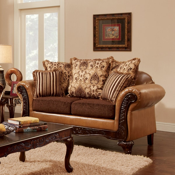 Furniture of America Femm Traditional Brown Faux Leather Loveseat