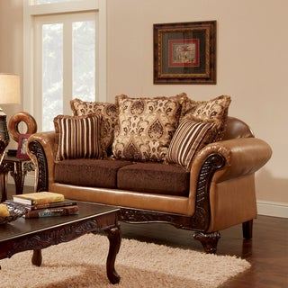 Furniture of America Lenea Traditional Chenille Fabric and Faux Leather Camel Brown Loveseat