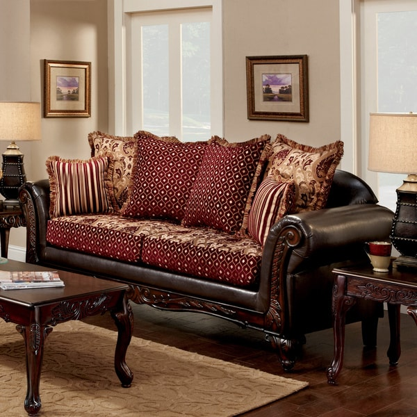 Furniture Of America Halliway Traditional Two Tone Chenille Fabric And Leather Brown Sofa