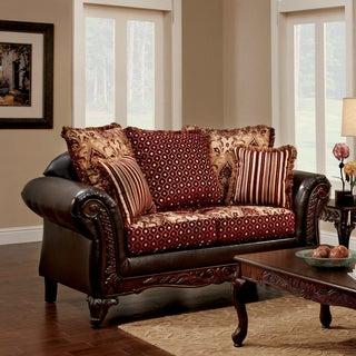 Furniture of America Halliway Traditional Two-Tone Chenille Fabric and Faux Leather Brown Loveseat