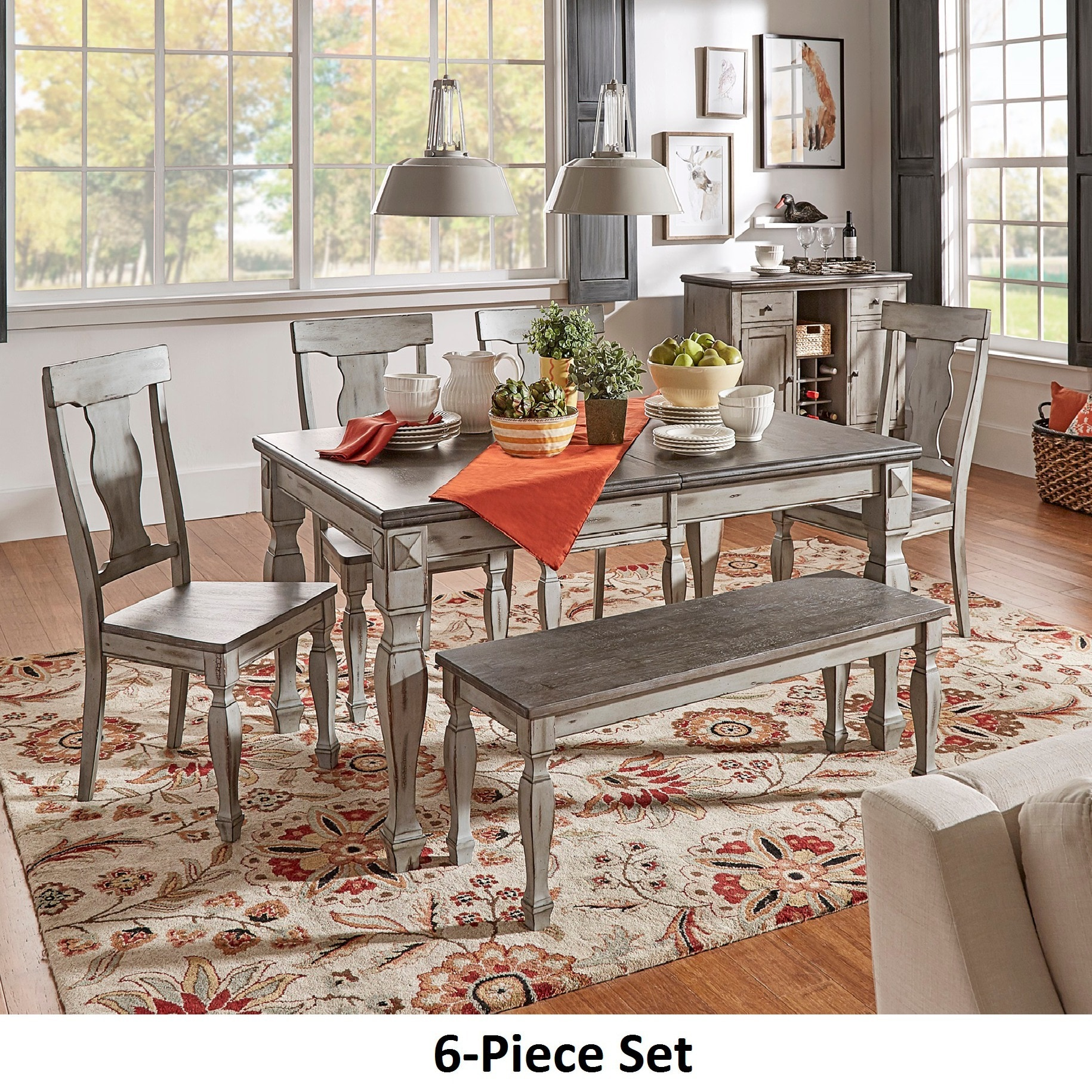 Eleanor Grey Two Tone Wood Butterfly Leaf Extending Dining Set By INSPIRE Q  Classic (