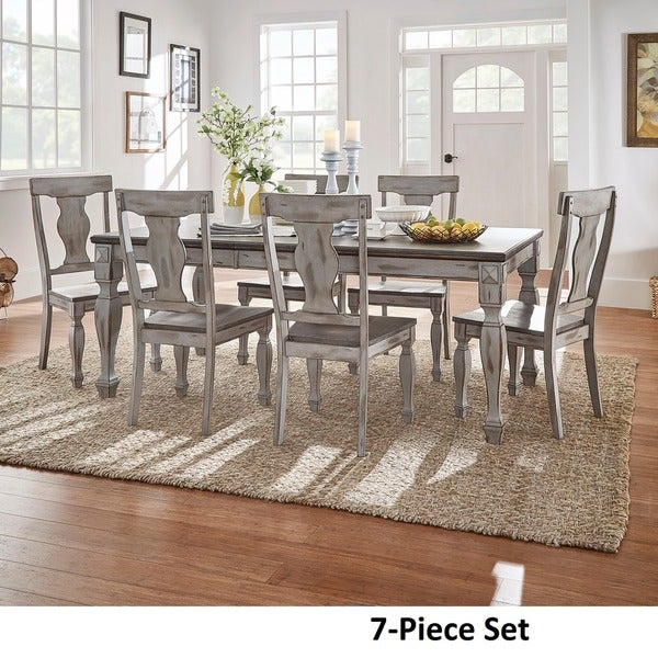 Eleanor Grey Two Tone Wood Butterfly Leaf Extending Dining Set By INSPIRE Q  Classic   Free Shipping Today   Overstock.com   20932886