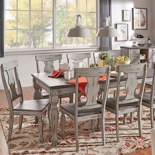 Eleanor Grey Two-Tone Wood Butterfly Leaf Extending Dining Set by TRIBECCA HOME