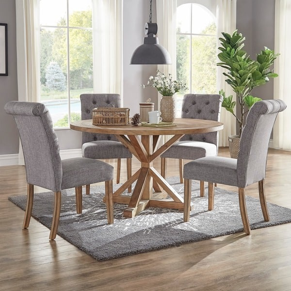 Incredible Shop Benchwright Rustic X Base 48 Inch Round Dining Table Squirreltailoven Fun Painted Chair Ideas Images Squirreltailovenorg