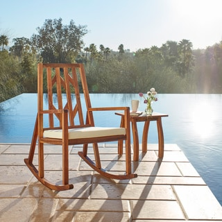 Nuna Outdoor 2-piece Wood Rocking Chair with Cushions and Table by Christopher Knight Home