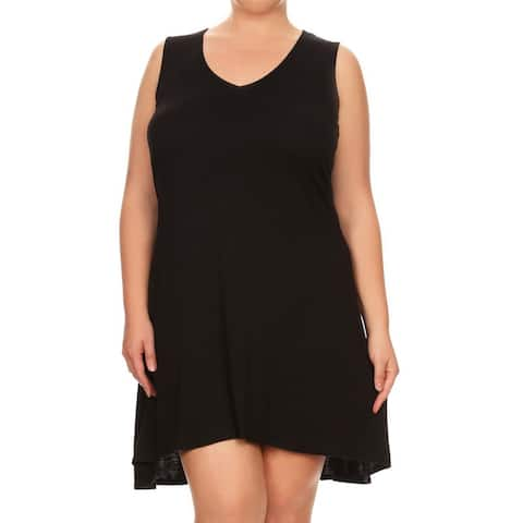 Women's Plus Size Solid Sleeveless Short Dress