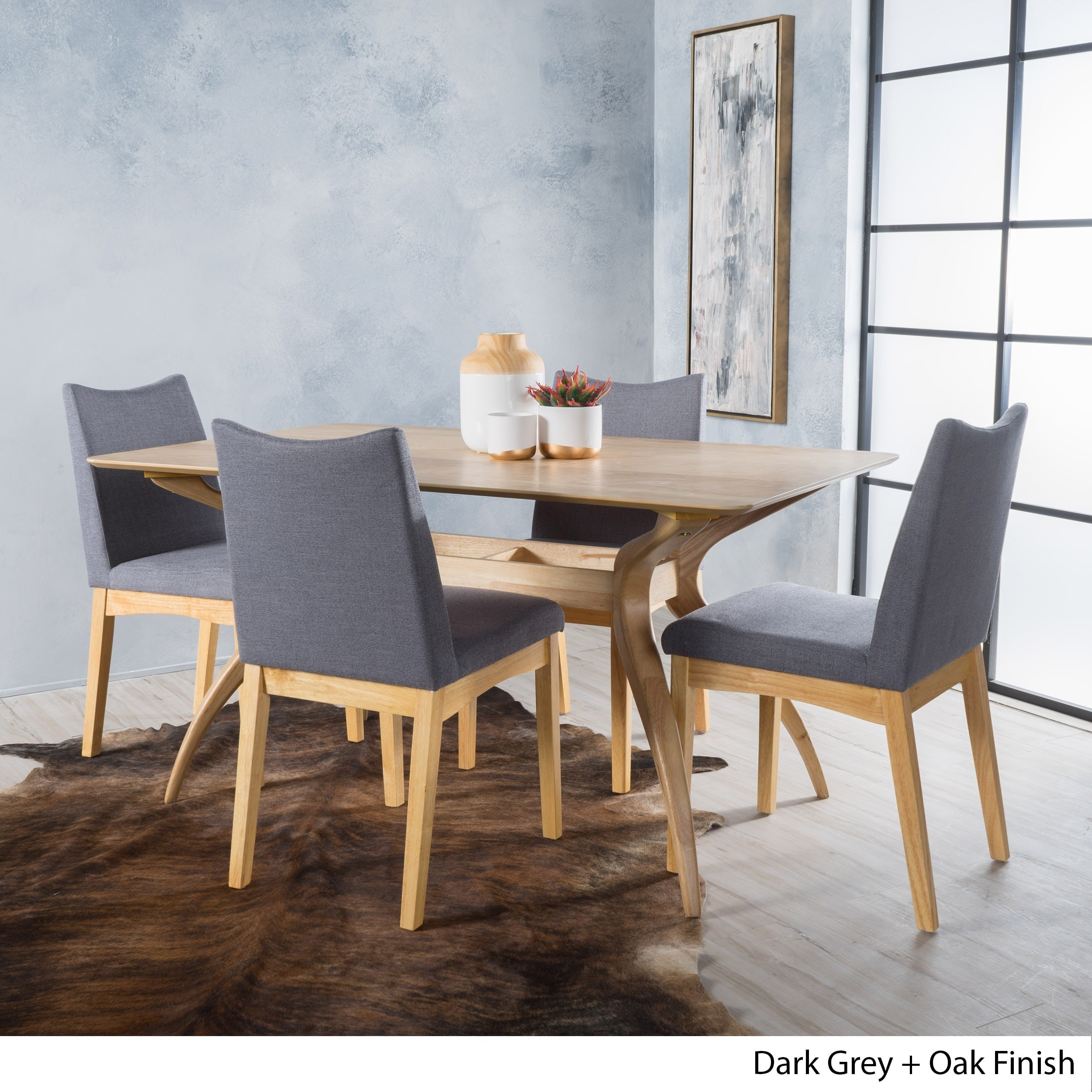 Details About Dimitri 5 Piece Wood Large Rectangular Mid Century Dining Set With Curved Legs