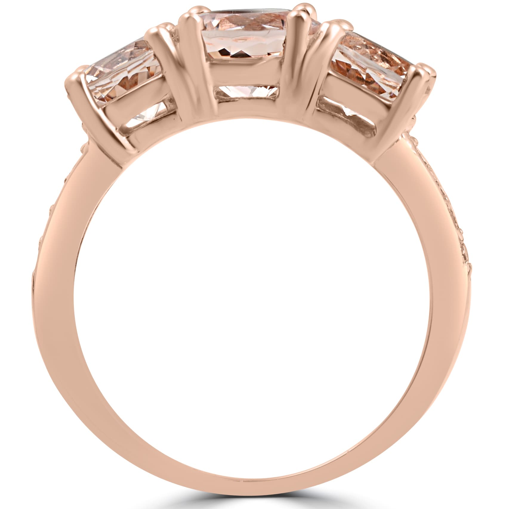 3 Diamond Promise Ring in 14K Pink Gold G-H,I2-I3 1//20 cttw, Size-4.75