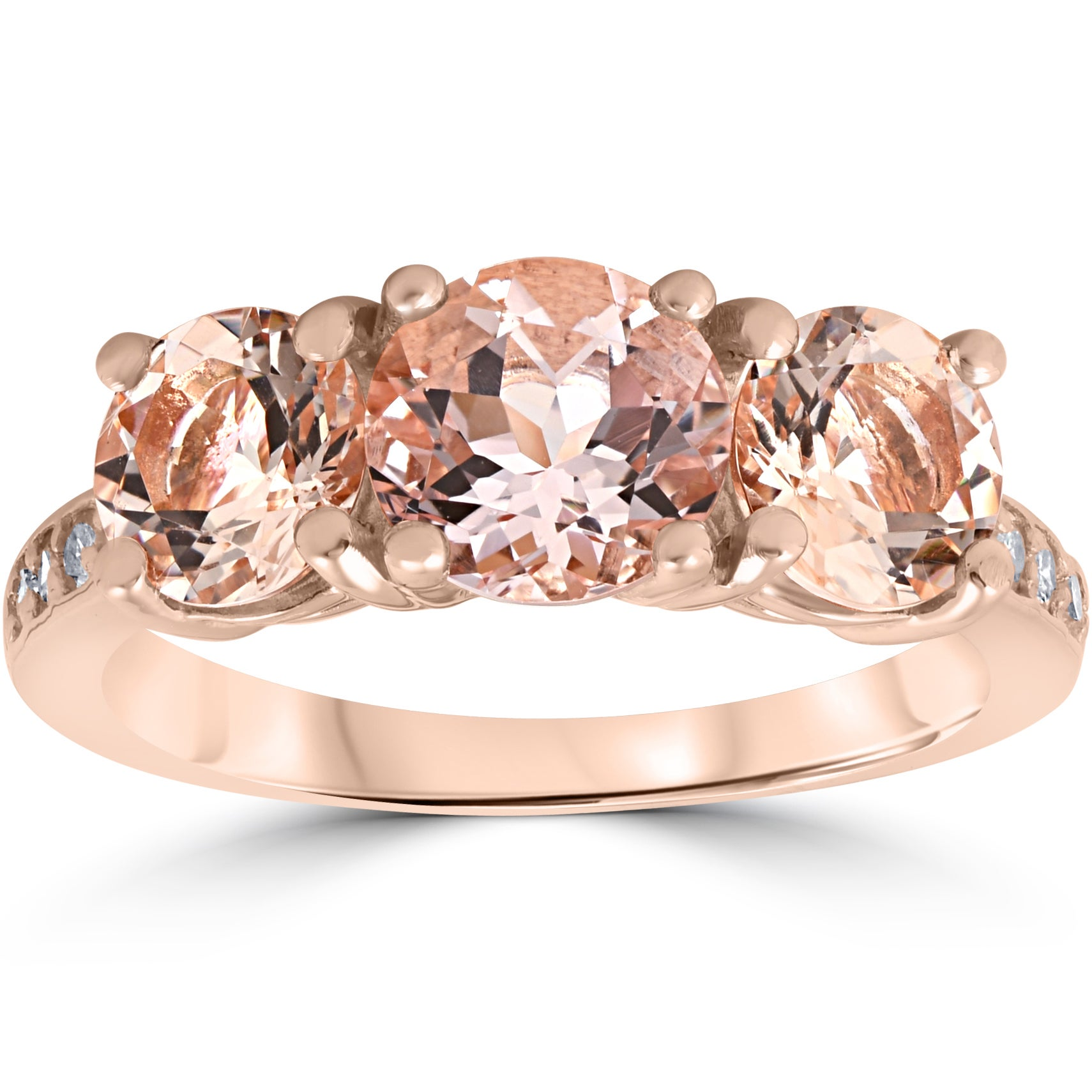 1//20 cttw, 3 Diamond Promise Ring in 10K Pink Gold G-H,I2-I3 Size-9.25