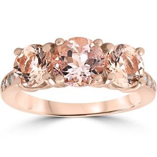 14K Rose Gold 3 1/5 ct TW Morganite & Diamond 3-Stone Engagement Ring (I-J,I2-I3)