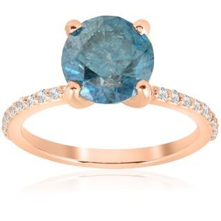 14k Rose Gold 3 1/5 ct TDW Blue Diamond Engagement Anniversary Ring (I-J, I2-I3)
