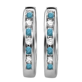 Elora 18K White Gold 1/5 ct. TDW Small Round Blue & White Diamond Huggie Hoop Earrings (I-J & Blue, I2-I3)