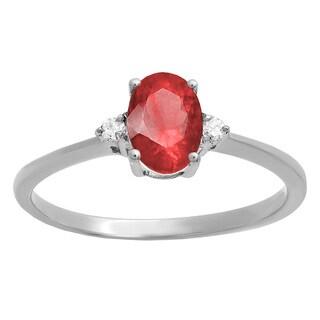 Elora 10k Gold 3/4ct TGW Oval-cut Ruby and Diamond Accent Bridal Promise Ring (I-J, I2-I3)