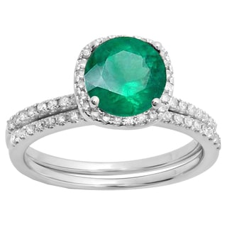 Elora 10k Gold 1 3/4ct TGW Round-cut Emerald and Diamond Accent Halo Engagement Ring Set (I-J, I1-I3)