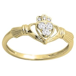 Elora 10k Gold 1/6ct TDW White Diamond Promise Irish Love and Friendship Claddagh Heart Ring (I-J, I2-I3)