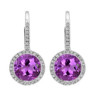 Elora 14k White Gold 3 3/4ct TGW Round-cut Amethyst and Diamond Accent Halo Drop Earrings (I-J, I2-I3)