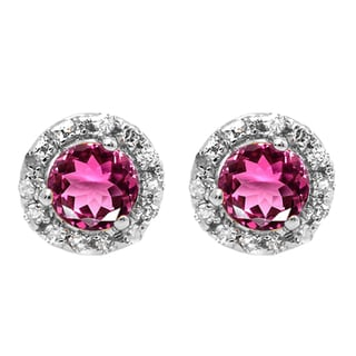 Elora 18k Gold 3/4ct TGW Round Pink Tourmaline and White Diamond Accent Halo Stud Earrings (I-J, I2-I3)