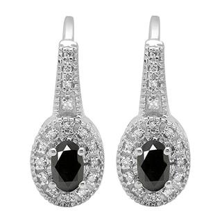 Elora 10k White Gold 5/8ct TGW Oval-cut Black Sapphire and Round White Diamond Accent Hoop Earrings (I-J, I2-I3)