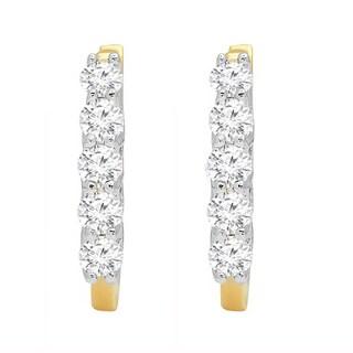 14k Yellow Gold 1/2ct TDW Round Diamond Leverback Hoop Earrings (I-J, I1-I2)