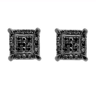 10k Black Gold Round Diamond Accent Micro Pave Shape Hip Hop Iced Stud Earrings