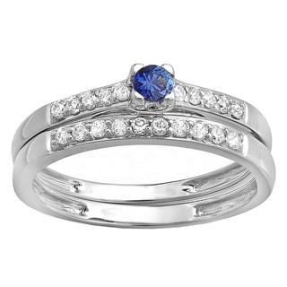 Elora 18k White Gold 2/5ct TGW Round Blue Sapphire and White Diamond Accent Wedding Set (H-I, I1-I2)