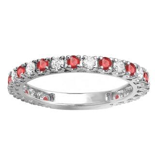 Elora 10k White Gold 1ct TGW Round Ruby and White Diamond Accent Eternity Sizeable Wedding Band (H-I, I1-I2)