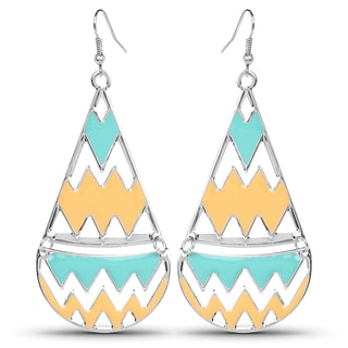 Liliana Bella Turquoise and Yellow Enamel Fashion Dangle Earrings
